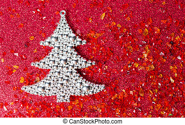 Silver Christmas tree on red background