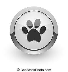 v - silver chrome glossy web icon