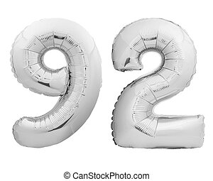 Silver chrome number number 92 ninety two made of inflatable...