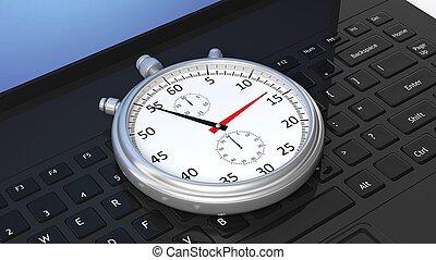 Silver chronometer on black laptop keyboard