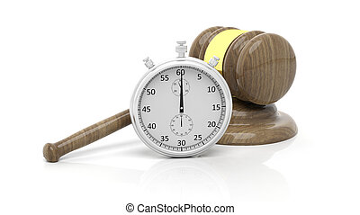 Silver chronometer with wooden gavel, isolated on white