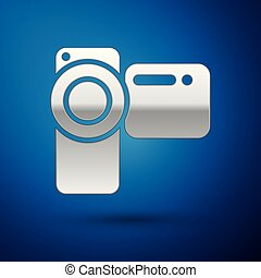Silver Cinema camera icon isolated on blue background. Video camera. Movie sign. Film projector. Vector Illustration