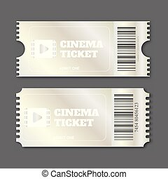 Silver cinema ticket over gray background. Useful for any...