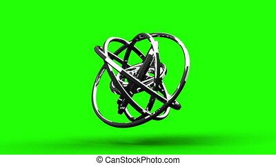 Silver Circle Abstract On Green Chroma Key.