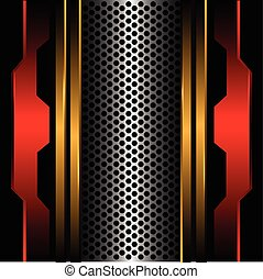 Silver circle mesh gold line red metal in black