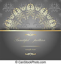 silver - Beautiful gold calligraphy pattern on a silver...