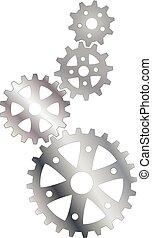 silver cogs (gears)