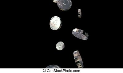silver coin falling down