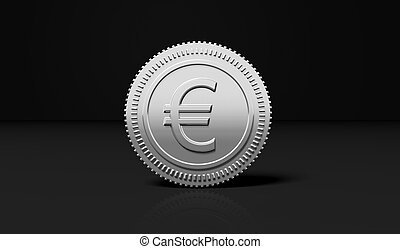Silver coin with Euro symbol, isolated on black background.