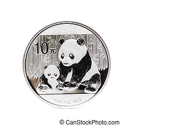 Silver coin with mother and child panda isolated on white...