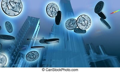 Silver coins falling from the sky with tall buildings on a blue background
