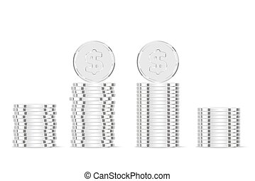 Silver coins. Realistic silver money isolated on white...