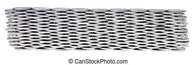Silver coins stacked over white background.