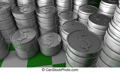 Silver coins - Stacks of silver coins.