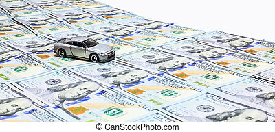 silver color car on the money road isolated on white background with clipping path