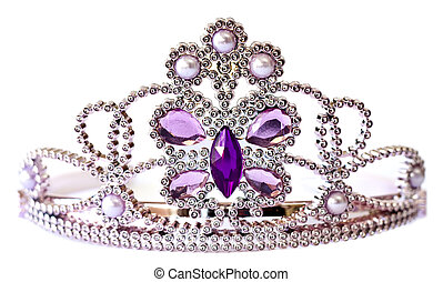 Silver color tiara with purple and lilac stones and pearls...