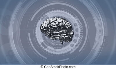 Silver colored brain rotating