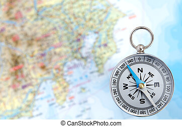 Silver Compass and Map