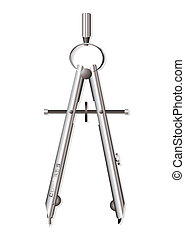 Silver compass - Metal silver architects drawing compass for...