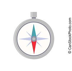 Silver Compass Isolated on White Colorful Icon