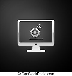 Silver Computer monitor update process with gear progress and loading bar icon isolated on black background. Adjusting, setting, maintenance, repair. Long shadow style. Vector