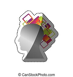 silver contour human with squere icon, vector illustraction ...