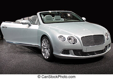 Silver convertible - Front side of a luxurious silver...