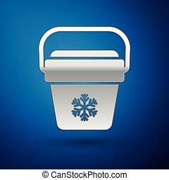 Silver Cooler bag icon isolated on blue background. Portable freezer bag. Handheld refrigerator. Vector Illustration