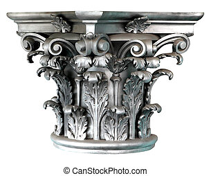 Silver Corinthian order columns on the white background