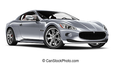 Silver coupe car on white background
