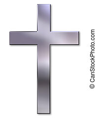 Christian cross with silver bevel on white background