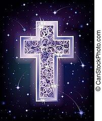 Silver cross in starry night sky, vector illustration