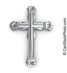 Silver cross over white