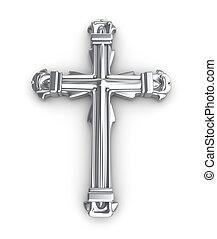 Silver cross over white
