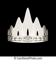 Silver crown design isolated on black background