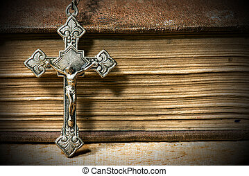 Silver Crucifix with Old Holy Bible