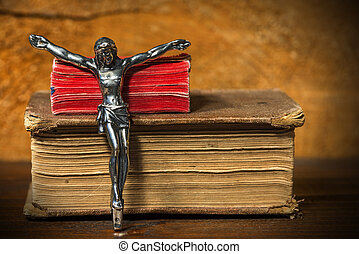Silver Crucifix with Two Holy Bibles