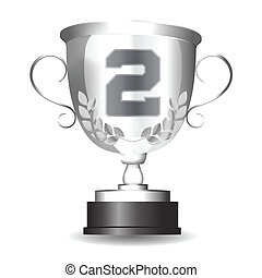 silver second place trophy. cup award. isolated object on a white background.