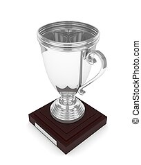 Silver cup on white. 3D rendering.