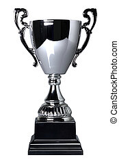 Silver cup trophy isolated - Silver trophy cup on stand...