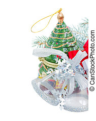 silver  decorations and chritmas tree