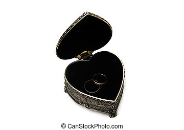 Silver decorative casket with pair of wedding ring. Isolated...