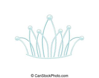 Silver diadem with quilted petals and diamonds. Vector illustration.
