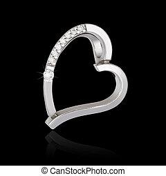 Silver diamond pendant in shape of heart