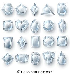 Silver diamonds gems, cutting stones jewellery vector set isolated on white background