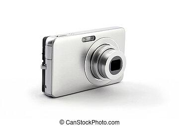 silver digital compact photo camera