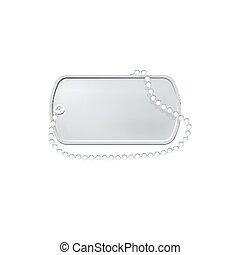 Silver dog tag label. Military dogtag necklace. Personal id pendant.