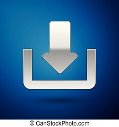 Silver Download icon isolated on blue background. Upload button. Load symbol. Arrow point to down. Vector Illustration