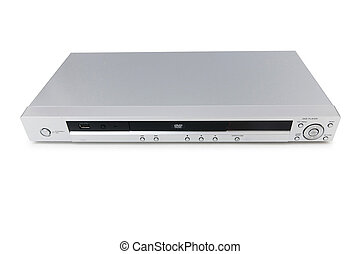 Silver DVD player isolated on the white