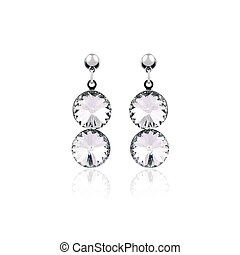 Silver earrings isolated on the white background